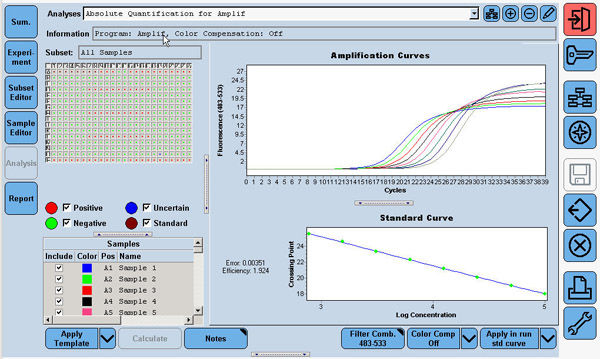 LightCycler 480 Software analysis screen for absolute quantification