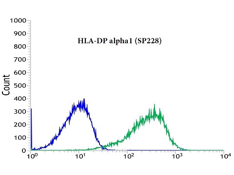 Flow cytometric analysis of rabbit anti-HLA-DP alpha1 (SP228) antibody in RAMOS (green) compare to negative control of rabbit IgG (blue)