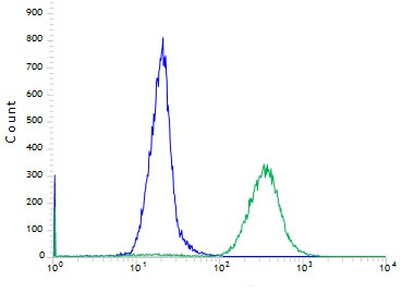 Flow cytometric analysis of rabbit anti-FGFR2 (SP273) antibody in Kato III cells (green) compare to negative control of rabbit IgG (blue)